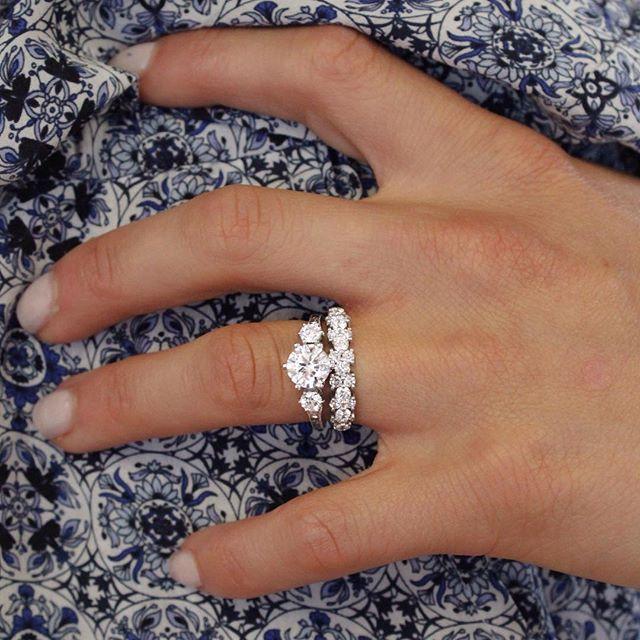 18k White Gold Three Stone Hudson Diamond Ring 1 3 Ct Tw Three Stone Engagement Rings Three Stone Engagement Wedding Ring Sets