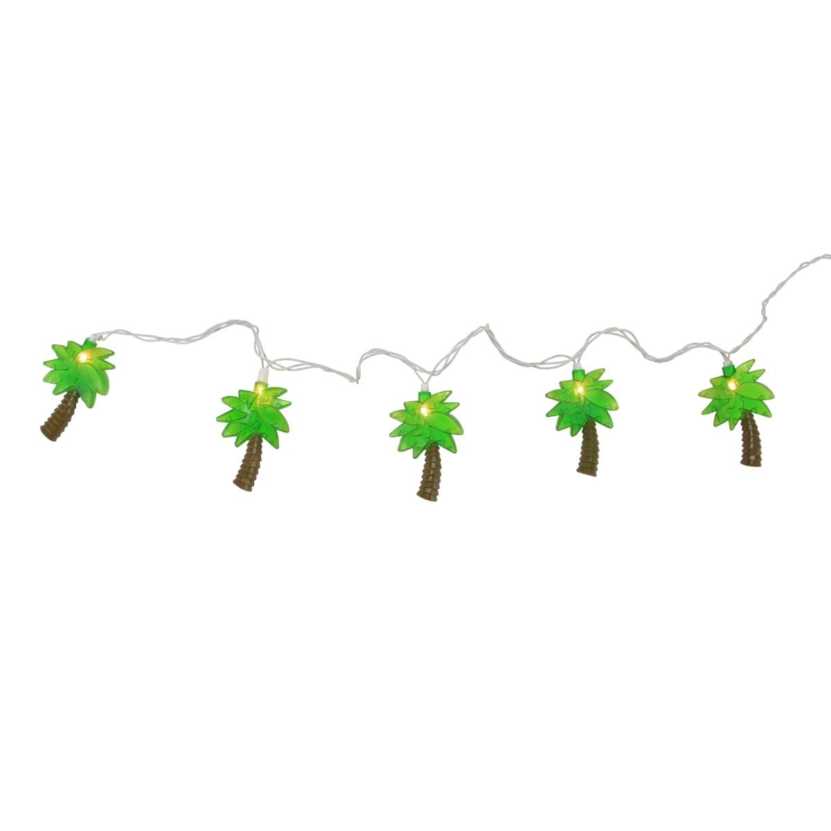 Set Of 10 Tropical Paradise Green Palm Tree Patio And Garden Novelty  Christmas Lights   White