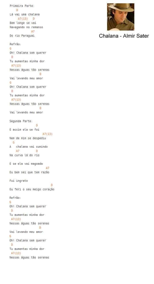 Extremamente Letra da música Chalana-Almir Sater | violão | Pinterest | Letras  DT71