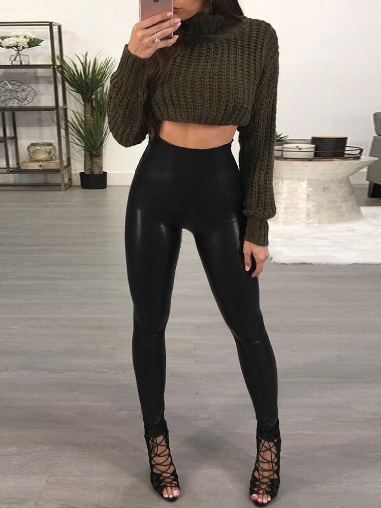 7ba18809abe Women High Waist Stretchy Black Faux Leather PU Leggings Pants Tights