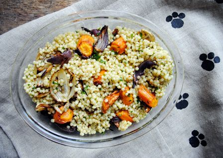 Toasted cous cous with roast vegetable salad