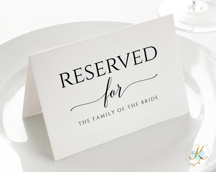 Reserved Sign Tent Pdf Template Small 3 5 X 5 Romantic Calligraphy Sign Templates Wedding Calligraphy Signs Reserved Signs