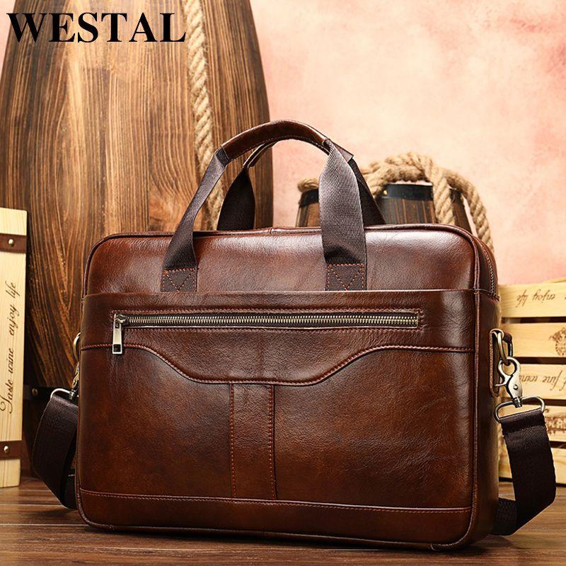Westal Men S Briefcase Leather Laptop Bag For Documents Men S Genuine Leather Bag Computer Office Ba Leather Briefcase Men Office Bags For Men Handbags For Men