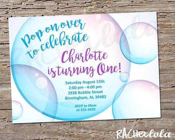 Bubble 1st Birthday Party Invitation Summer Spring Invite Printable Template Digital Print Bubble Birthday Bubble Birthday Parties Birthday Invitations Kids