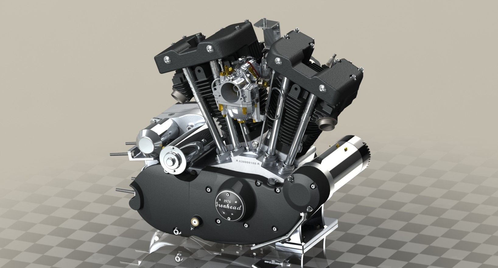 "1976 Harley-Davidson XLH 1000 Sportster ""Ironhead"" engine 3D model 