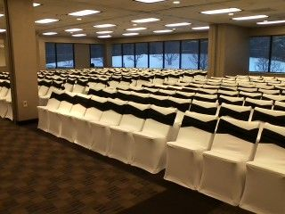 White Spandex Folding Chair Covers And Black Solid Sashes