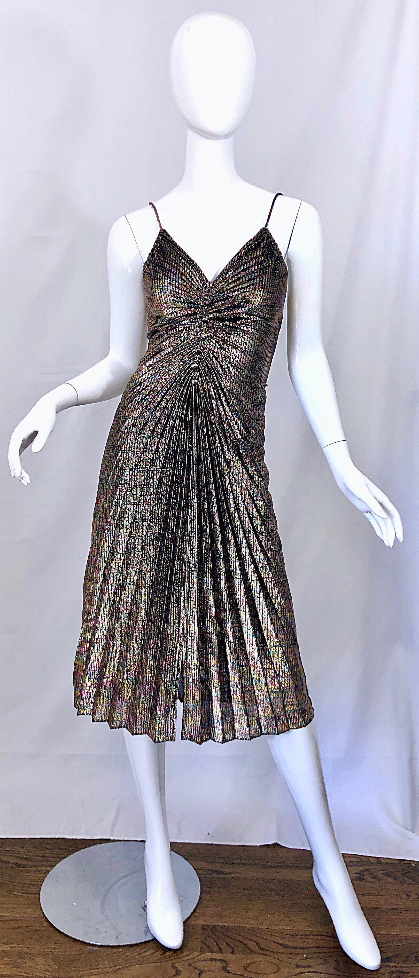 Amazing 1970s Metallic Disco Studio 54 Pleated Slinky Colorful Vintage 70s Dress Vintage Dress 70s Metallic Cocktail Dresses 70s Dress [ 3788 x 1622 Pixel ]