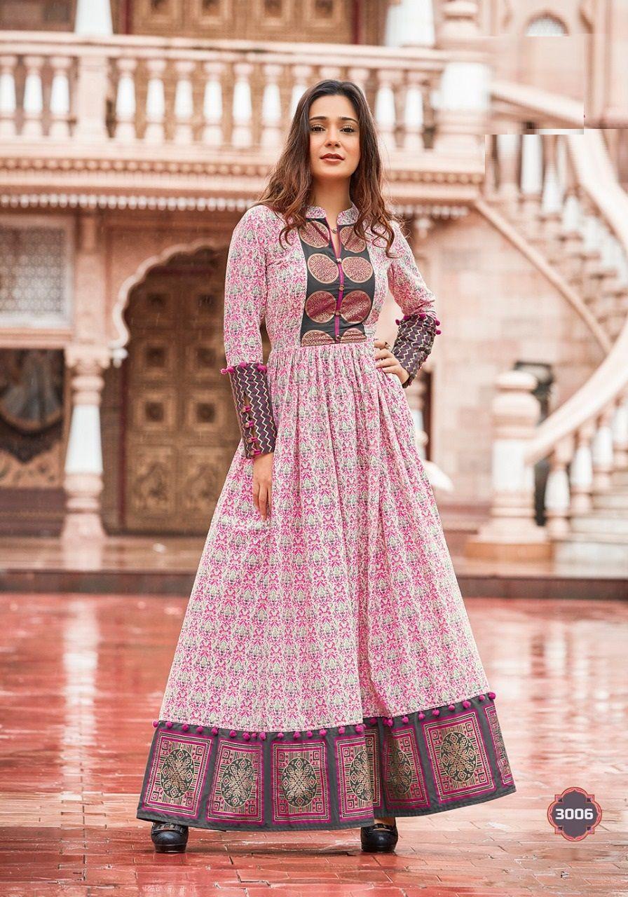 Indian fashion cotton maxi dress fesive wear designer long kurti