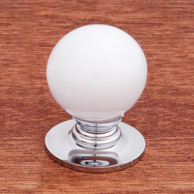 This White Porcelain Cabinet Knob With Large Round Knob And Chrome Base  Design From RK International