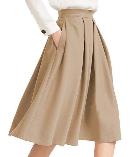 277c2f85c0eb58 Yige Women's High Waist Flared Skirt Pleated Midi Skirt with Pocket at Amazon  Women's Clothing store: