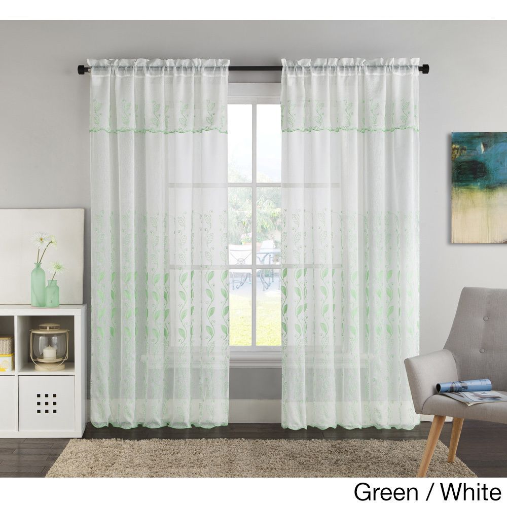 Vcny Lacie Embroidered Curtain Panel with Attached Valance (55x90 - Green/White), Size 90 Inches (Polyester, Nature)