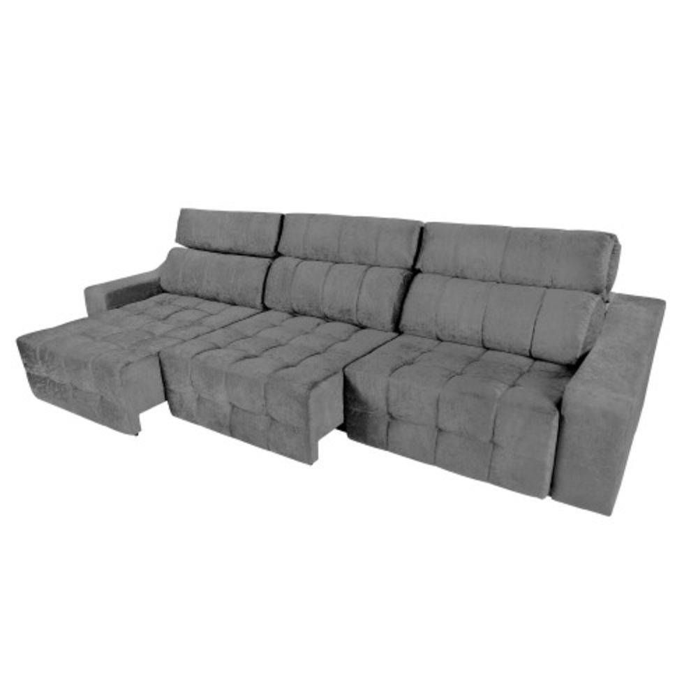 Sofa Retratil E Reclinavel Submarino Sofá 6 Lugares Connect Retrátil E Reclinável Suede Amassado Cinza