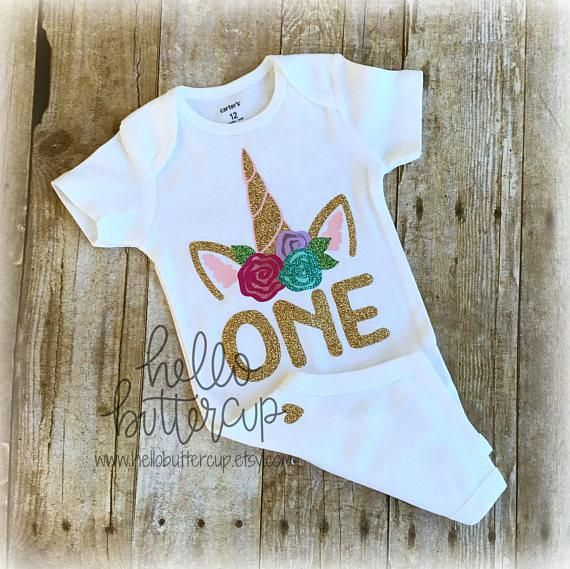 d376703a2b1 Unicorns and Glitter! Girls First Birthday Onesie / Shirt. Can be made with  any Age/Year number. Super Sparkly Unicorn bodysuit. Hand drawn design just  for ...