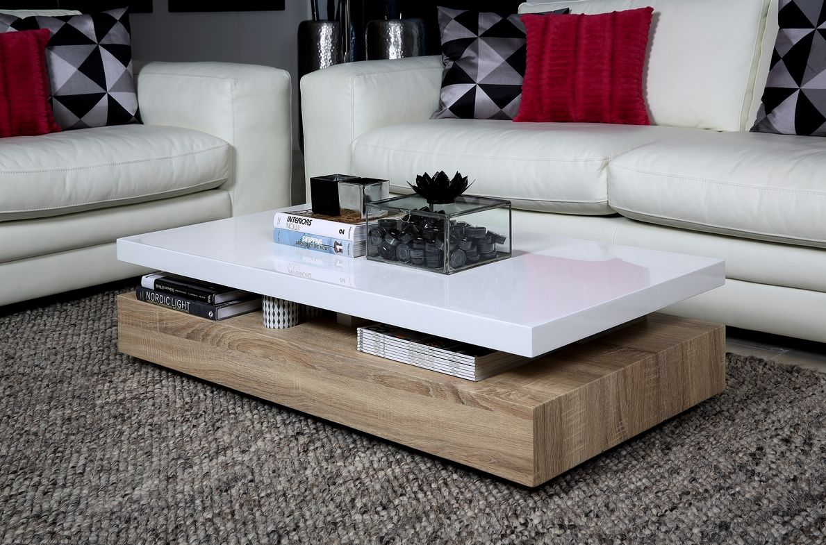 Table basse design dessus en bois laqu blanc maxima - Table basse laque blanc et bois ...