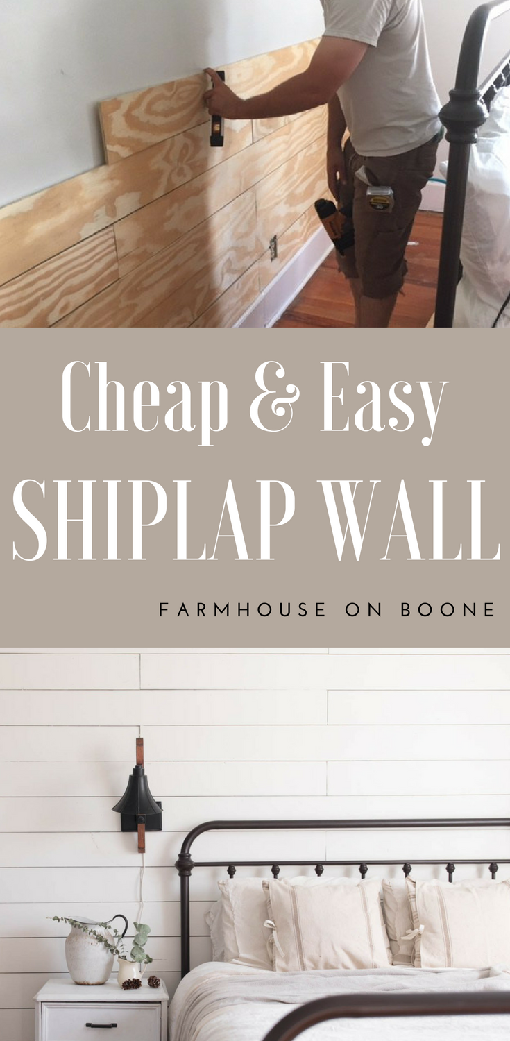 Cheap and Easy DIY Shiplap Wall is part of Home Accents DIY Ship Lap - Learn how to make an easy diy shiplap wall with this tutorial  Use plywood to make it the inexpensive way