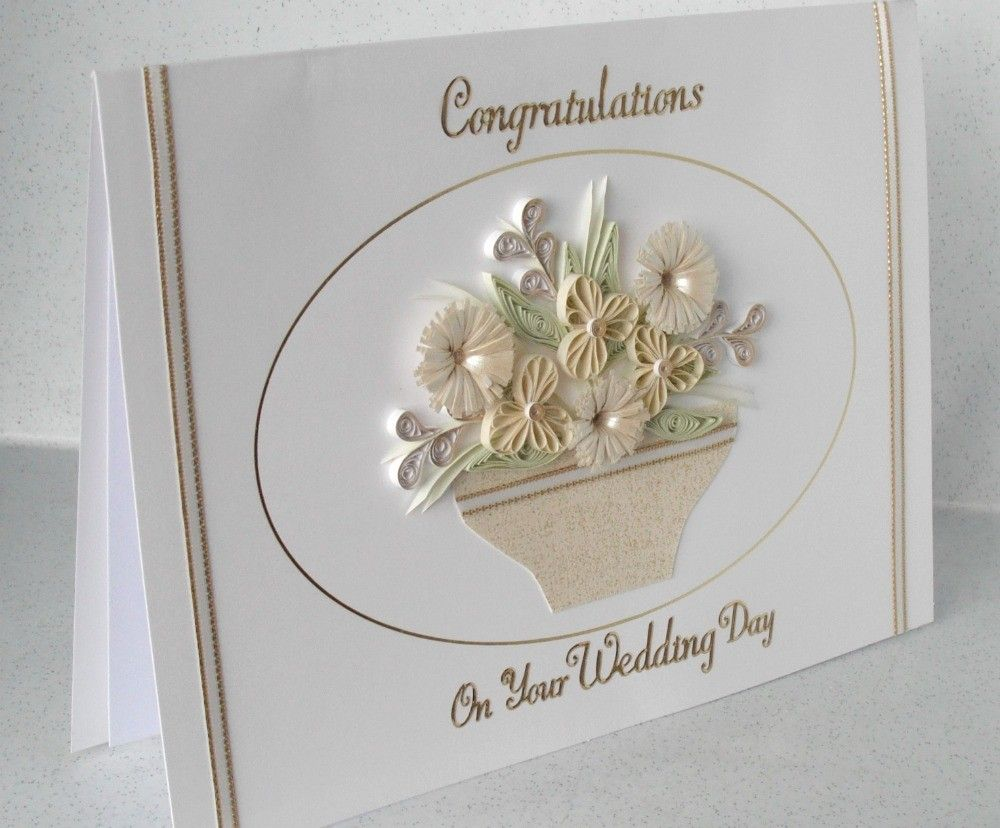 Handmade Quilled Wedding Congratulations Card With Quilling Flowers