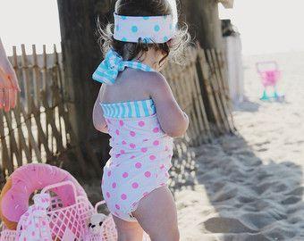 Blue & white Candy stripe retro bikini little por RedDollyGirls