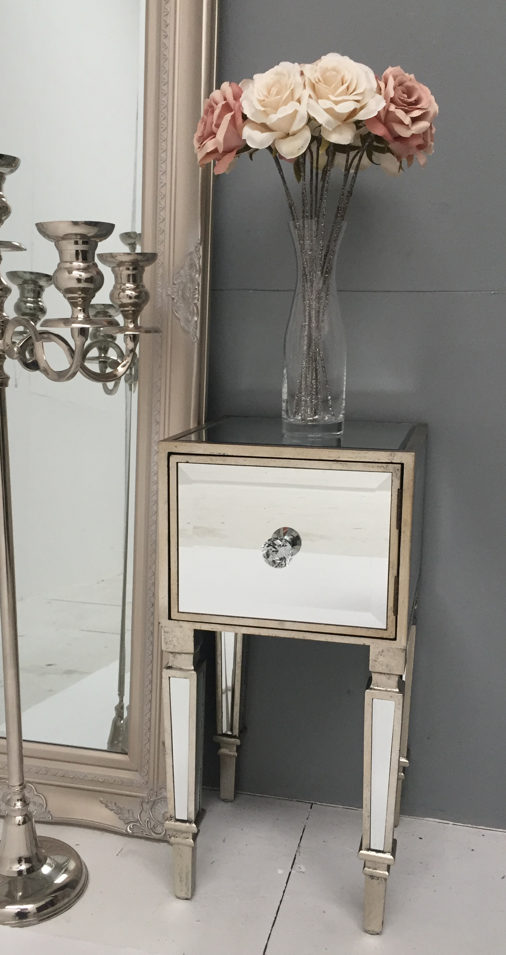 Vintage Style Bedside Table With Mirrored Finish And Diamante Handles In Antique Silver