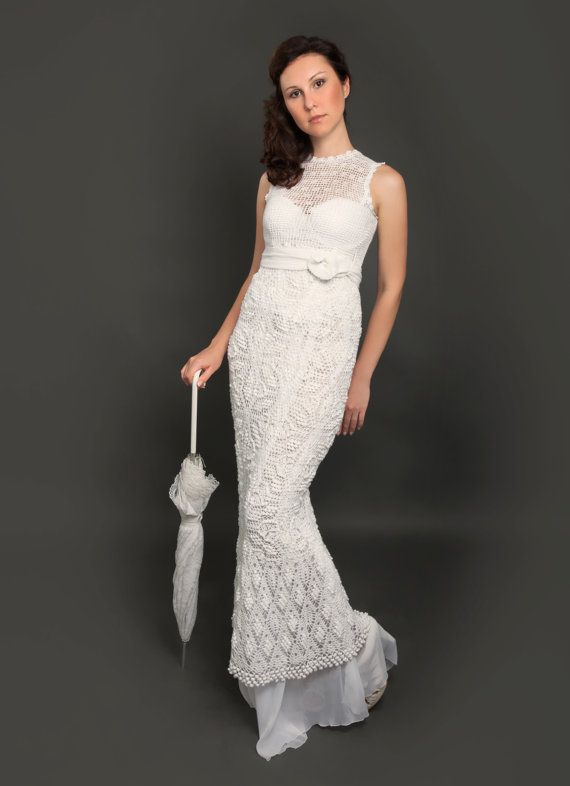 Exclusive long crochet wedding dress - the finished product in a ...