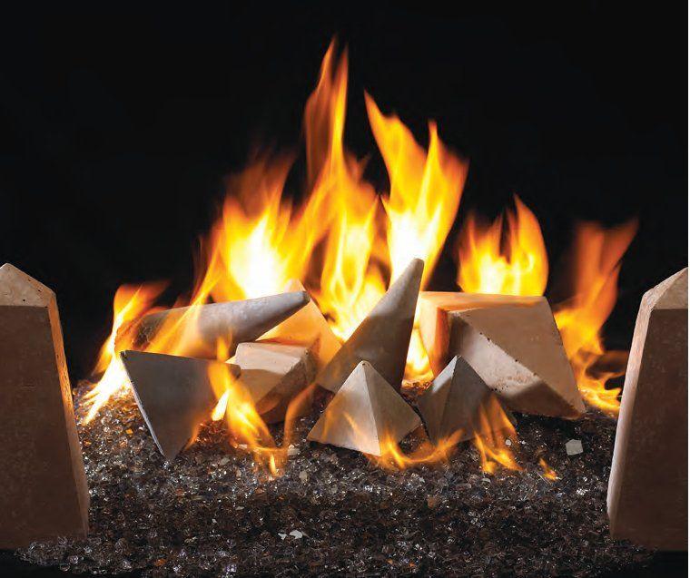 Fire Shapes on Gray Fireplace Glass by Stone apple fireplace via