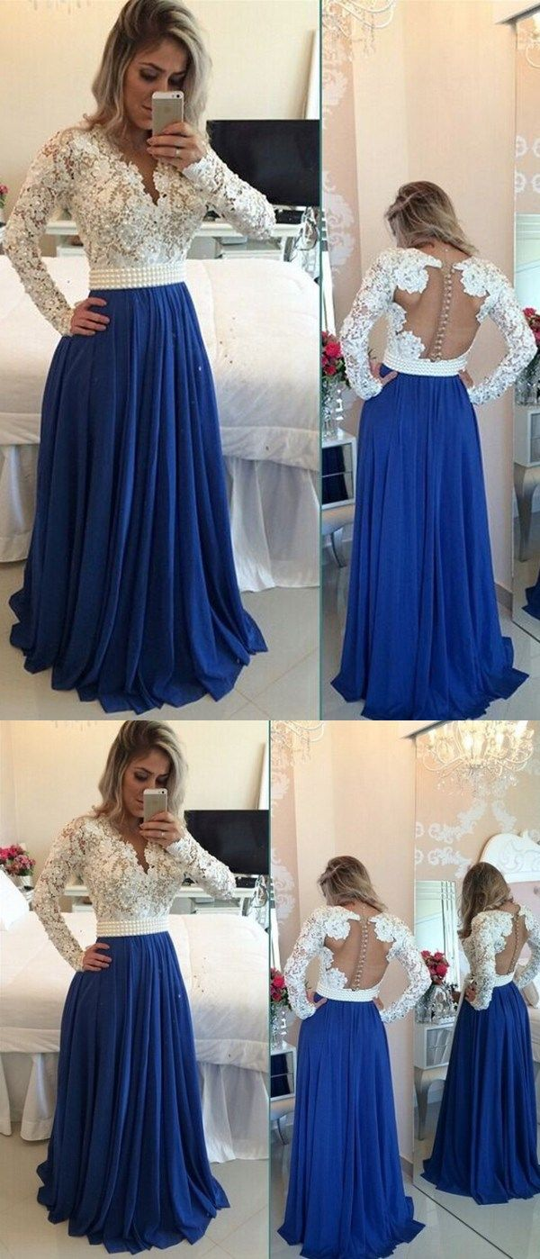 White lace royal blue skirt long prom dresseslong sleeves v neck