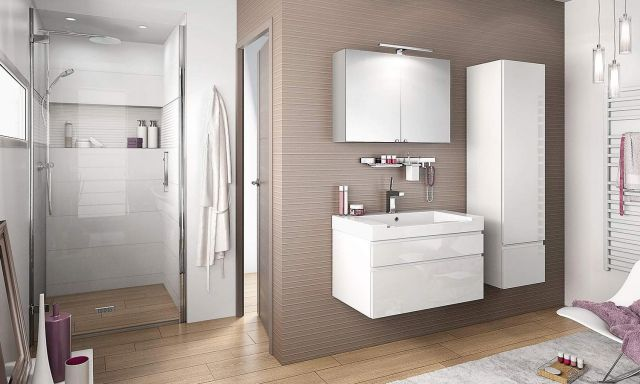 Meuble de salle de bain blanc Inspiration NT80D de Delpha