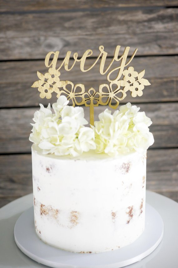 Custom First Name Floral Cake Topper