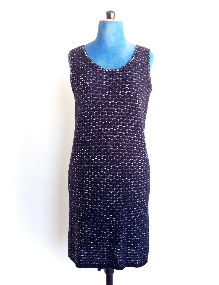 Vintage Black Knit Dress Silver Fleck Lurex  8ee5f198d