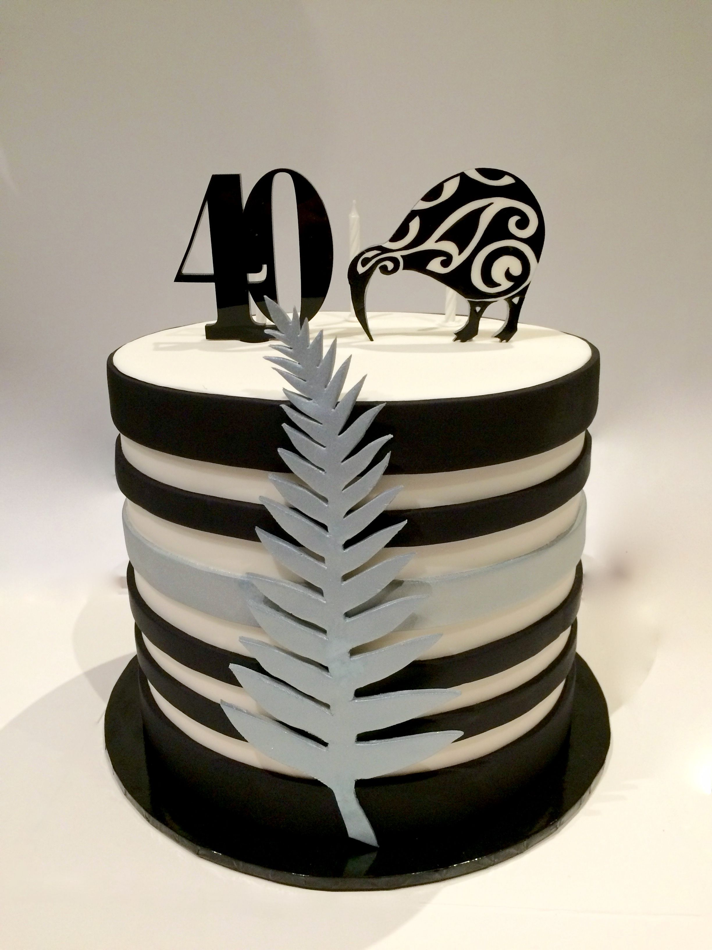 A 40th Birthday Cake with a New Zealand theme. Alternate