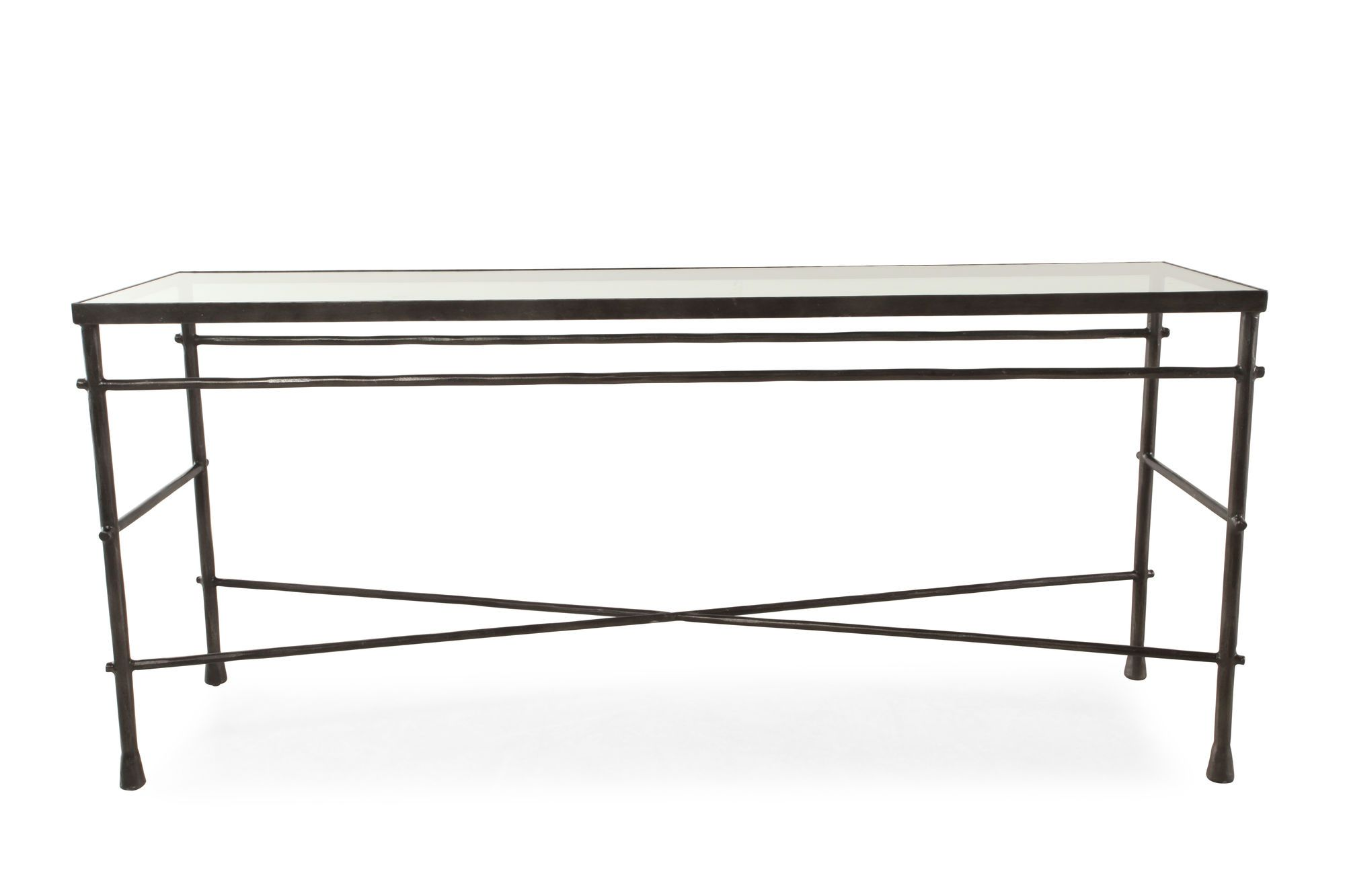 Cross Braced Traditional Sofa Table In Gunmetal Gray Mathis