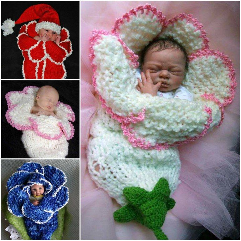Wonderful DIY Knitted Bell Flower Baby Cocoons | Flower crochet ...