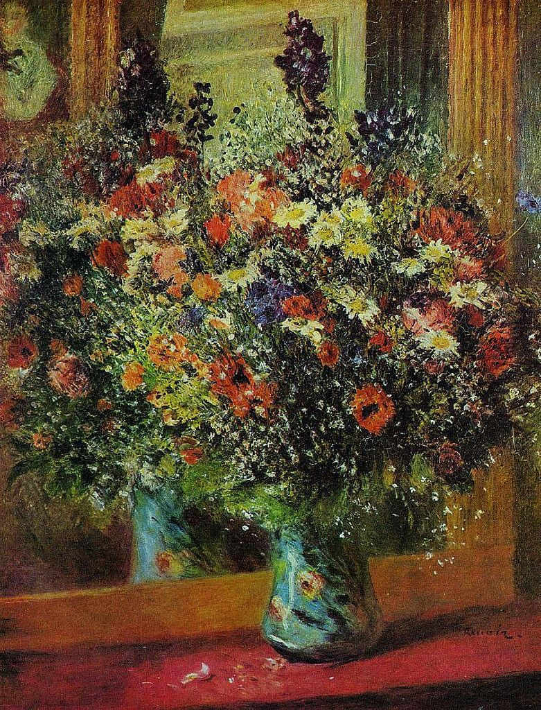 Bouquet in front of a Mirror, 1876-77. Pierre Auguste Renoir