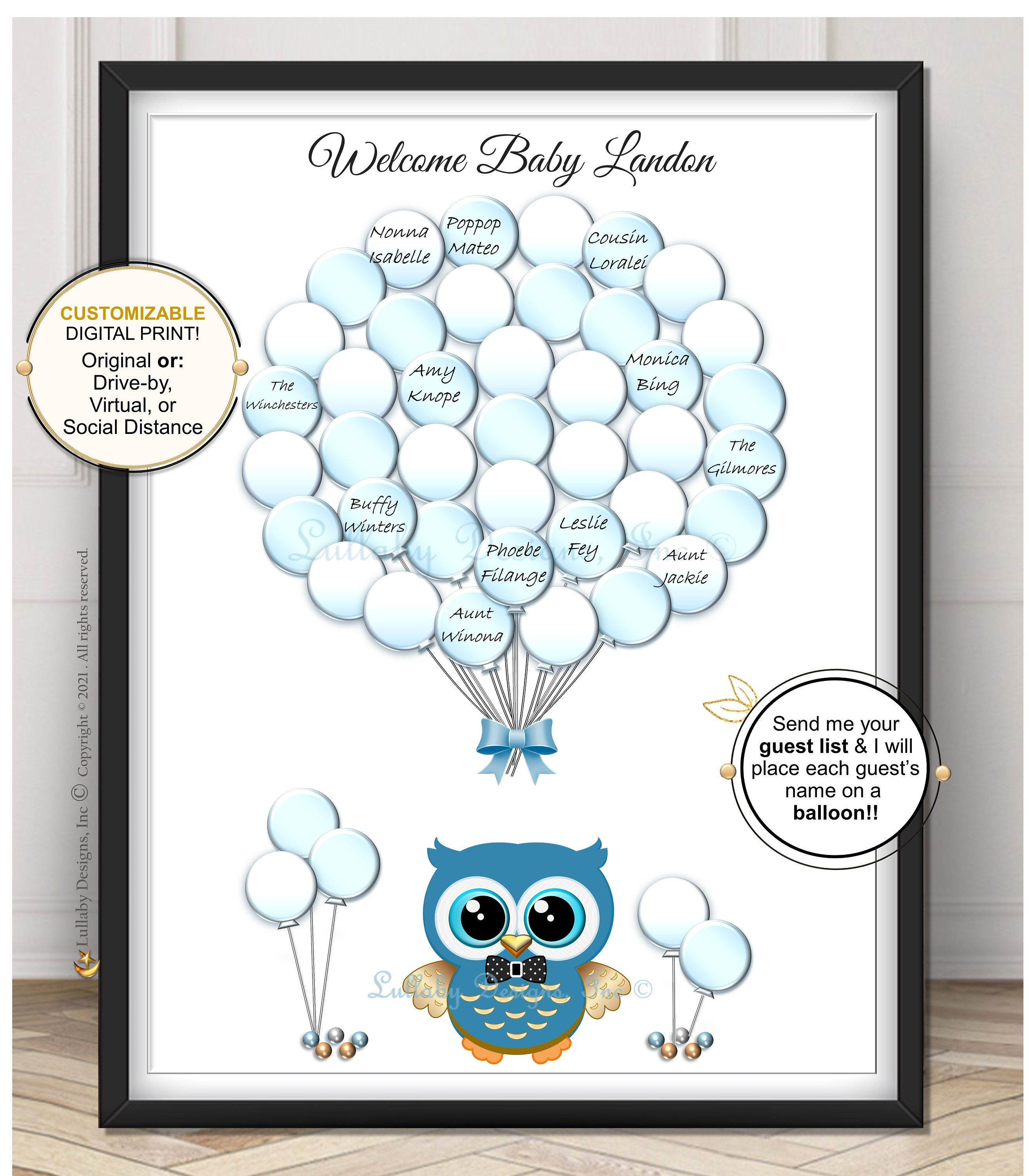 Baby shower baby shower owl baby girl or baby boy Balloons Guestbook print    Guest book print or  Printable Digital file DIY