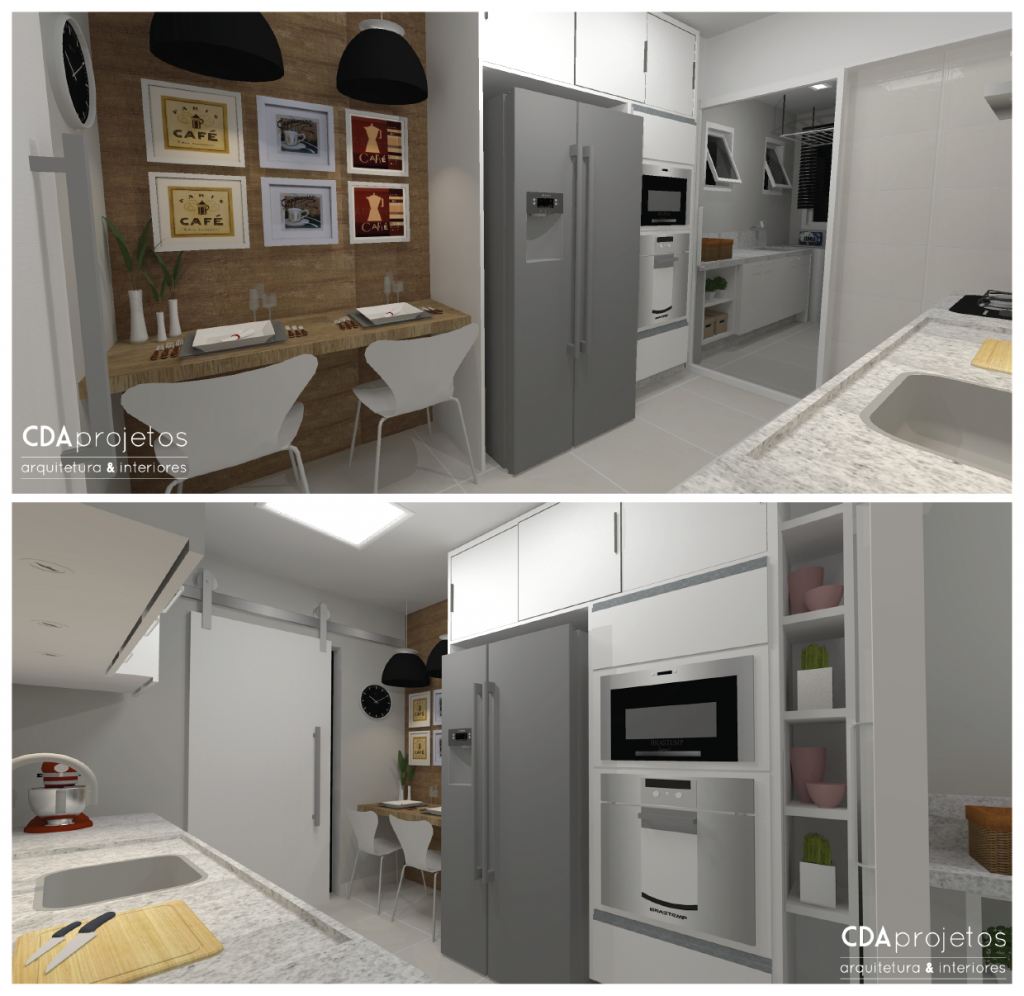 Cozinha estreita com detalhe em madeira   CDA projetos