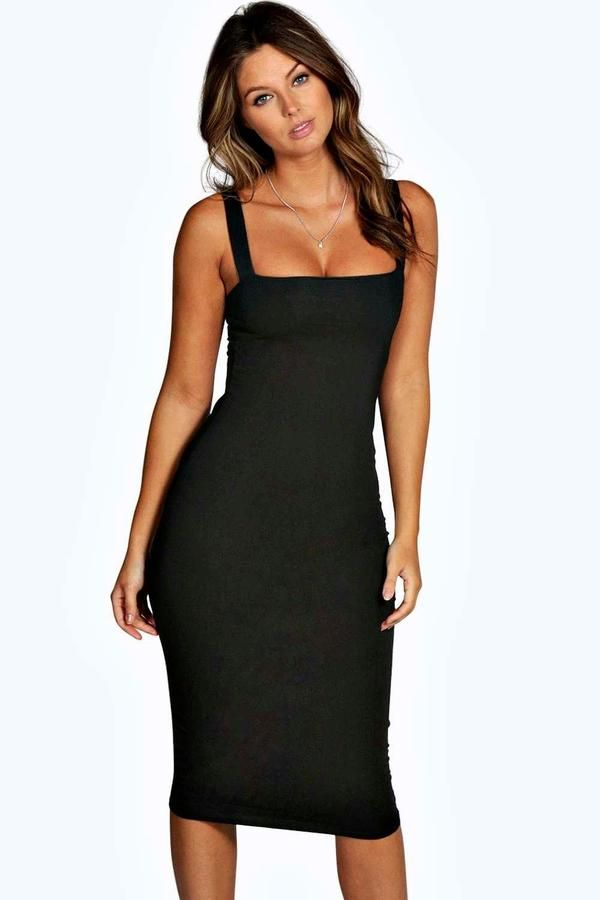 7b13b9ff802c Square Neck Bodycon Midi Dress | Gyönyörű hölgy | Dresses, Midi ...