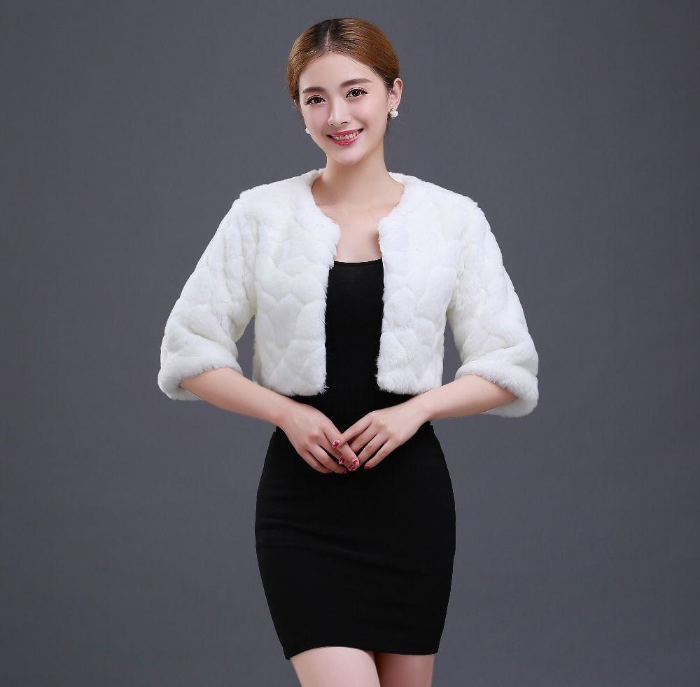 Size S M L Half Sleeves Winter Warm Fur Bridal Wraps Bolero Jacket ...