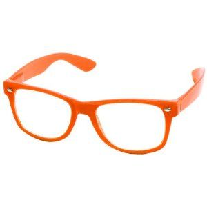 502345cf2c7 New Glossy Orange Wayfarer Nerd Glasses Clear Lens Optical Quality ...