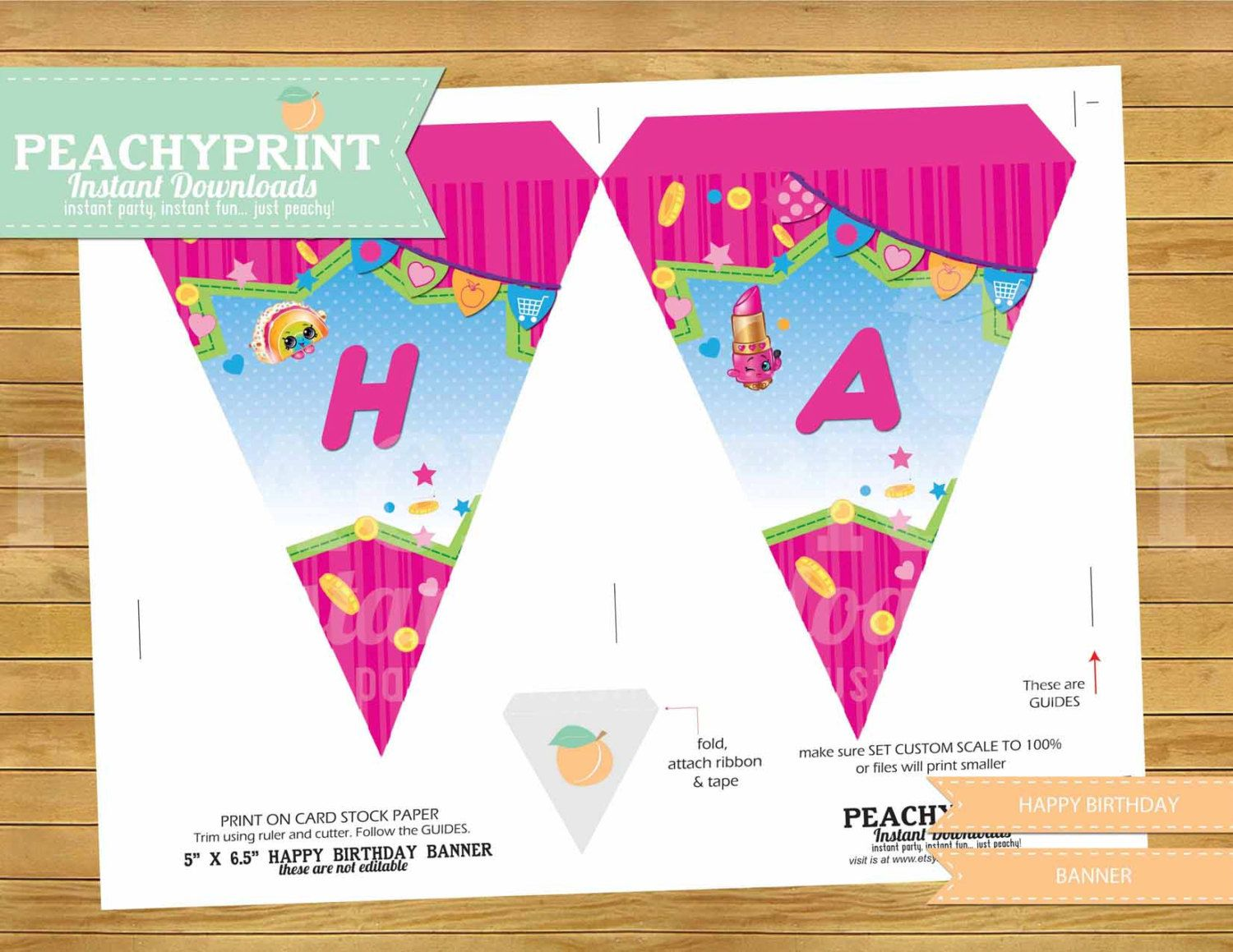 Free birthday banner images - Shopkins Banner Instant Download By Peachyprint On Etsy