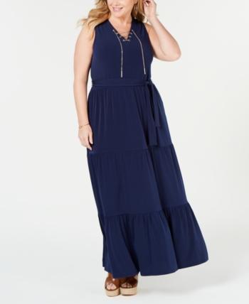8f59a853a5c Michael Michael Kors Plus Size Sleeveless Tiered-Skirt Maxi Dress - Blue 3X