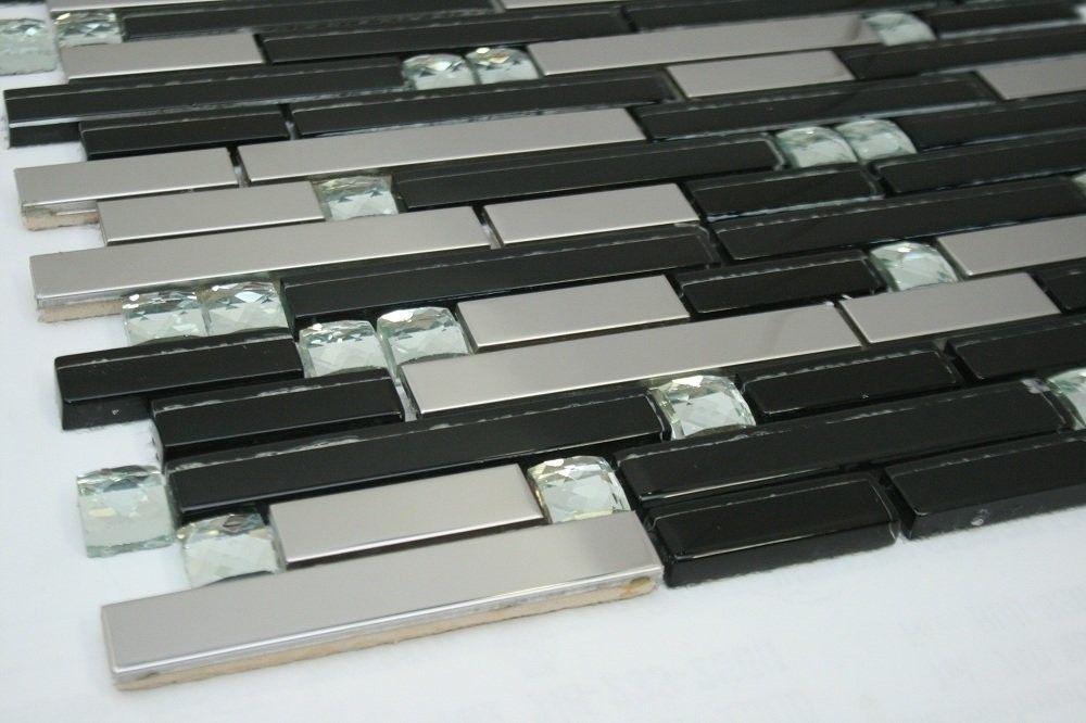 Silver Stainless Steel Tile Silver Glass Tile Diamond Shape