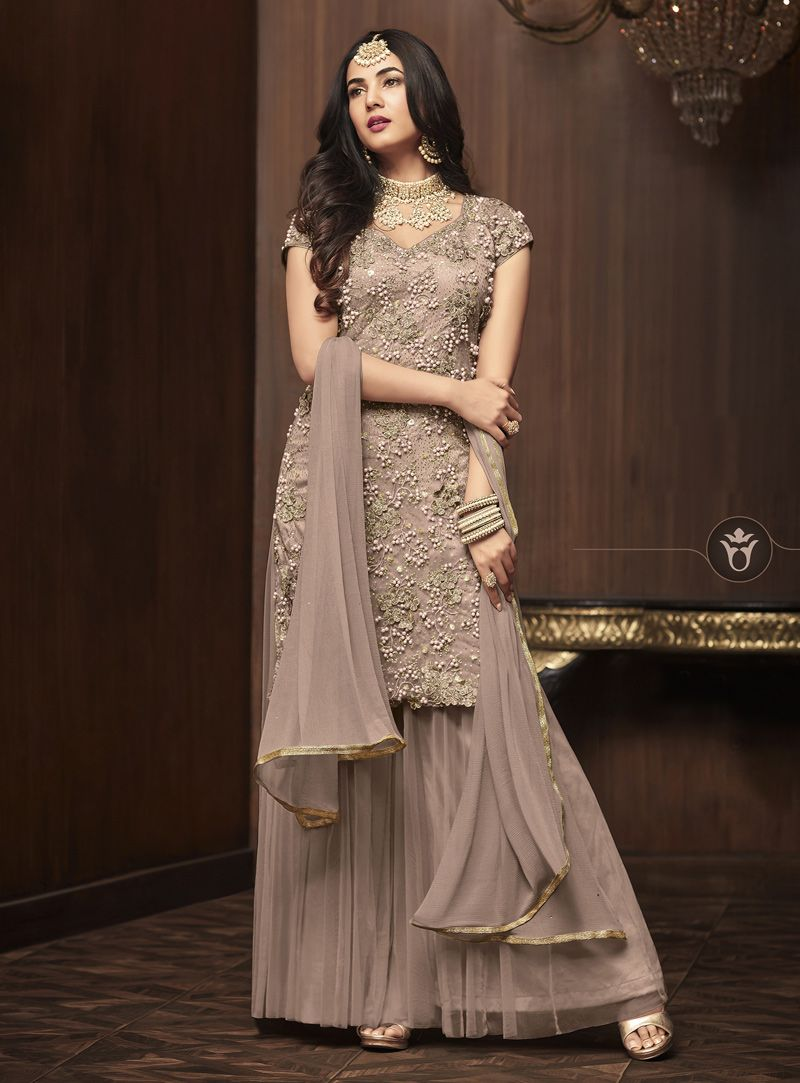 502f2a90ce Buy Sonal Chauhan Beige Sharara Style Suit 143196 online at lowest price  from huge collection of salwar kameez at Indianclothstore.com.