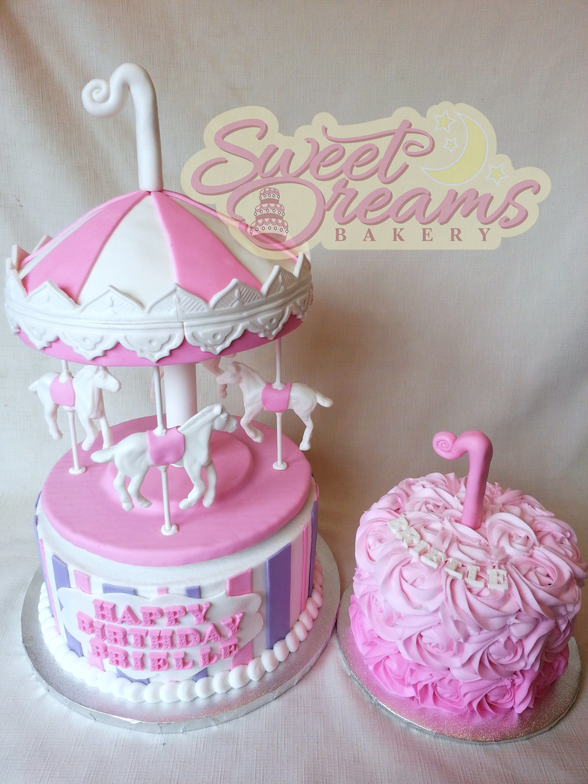 Carousel cake and smash cake from sweet dreams bakery