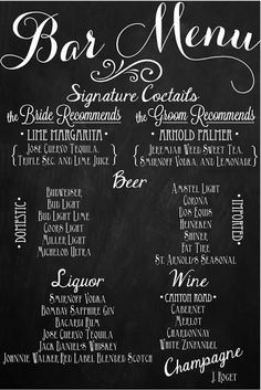 Custom Wedding Bar Menu Chalkboards. I Like The Idea Of Chalkboards  Everywhere.  Free Drink Menu Template