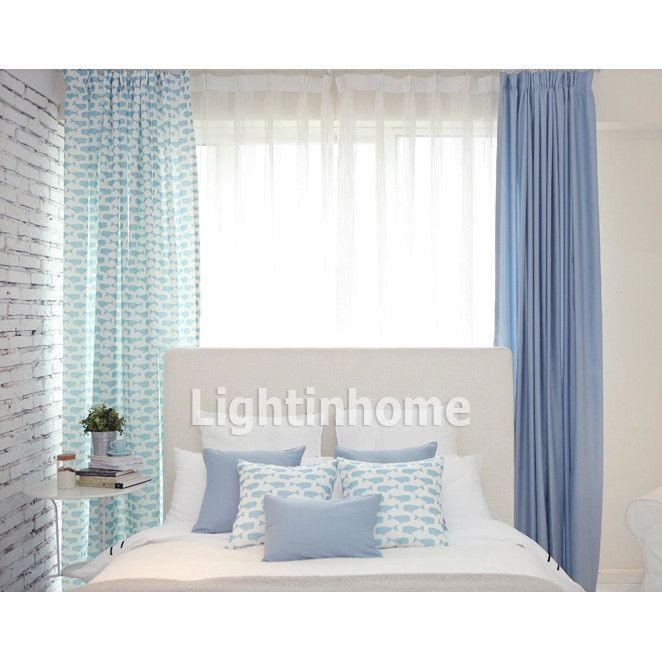 Blue Colored Whale Curtains Look Beautiful. Go With Pure White Style Home,  This Blue One Is The Best.