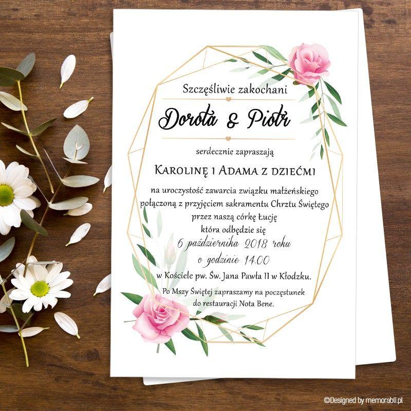 Kwiaty Ze Zlotym Dekorem Zaproszenie Slubne Book Cover