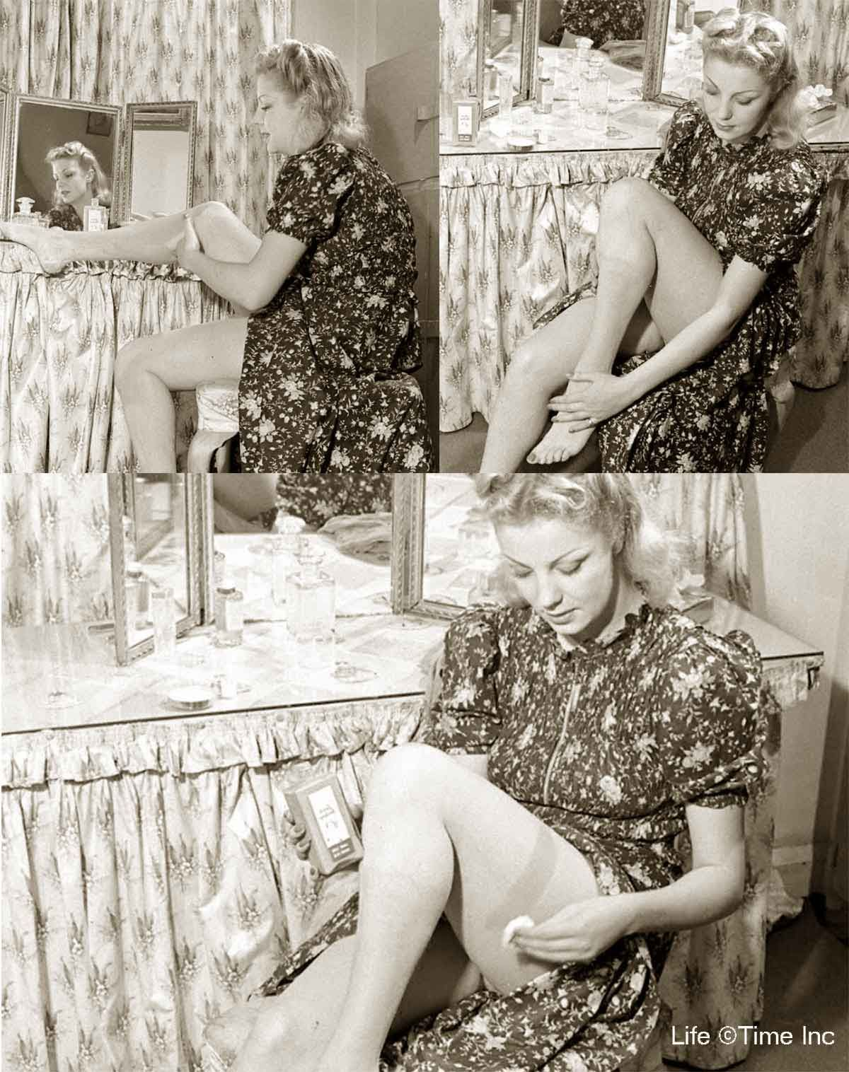 0fc1591334a 1940s Fashion - Liquid Stockings for Summer