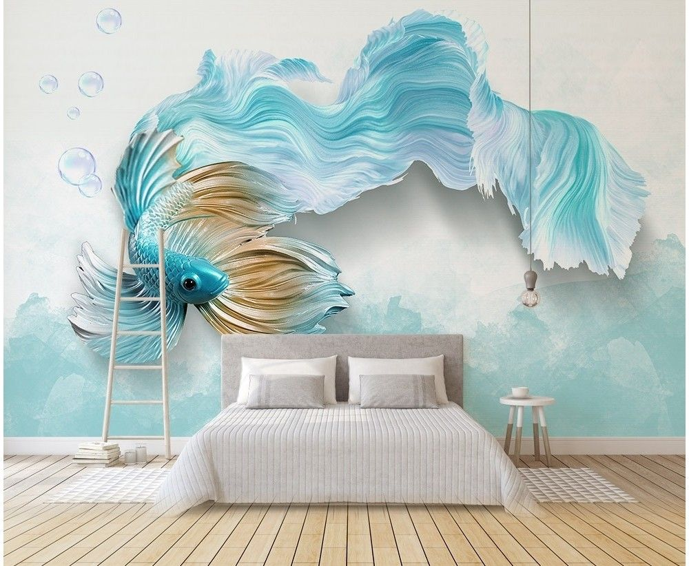 Abstract Guppy Fish Wallpaper Mural in 2019   Wall murals