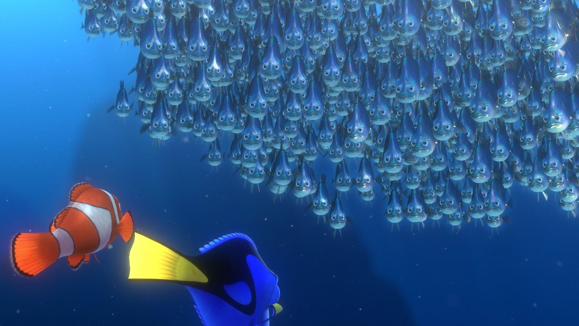 Finding nemo fish school john ratzenberger pixar voice for Finding nemo fish