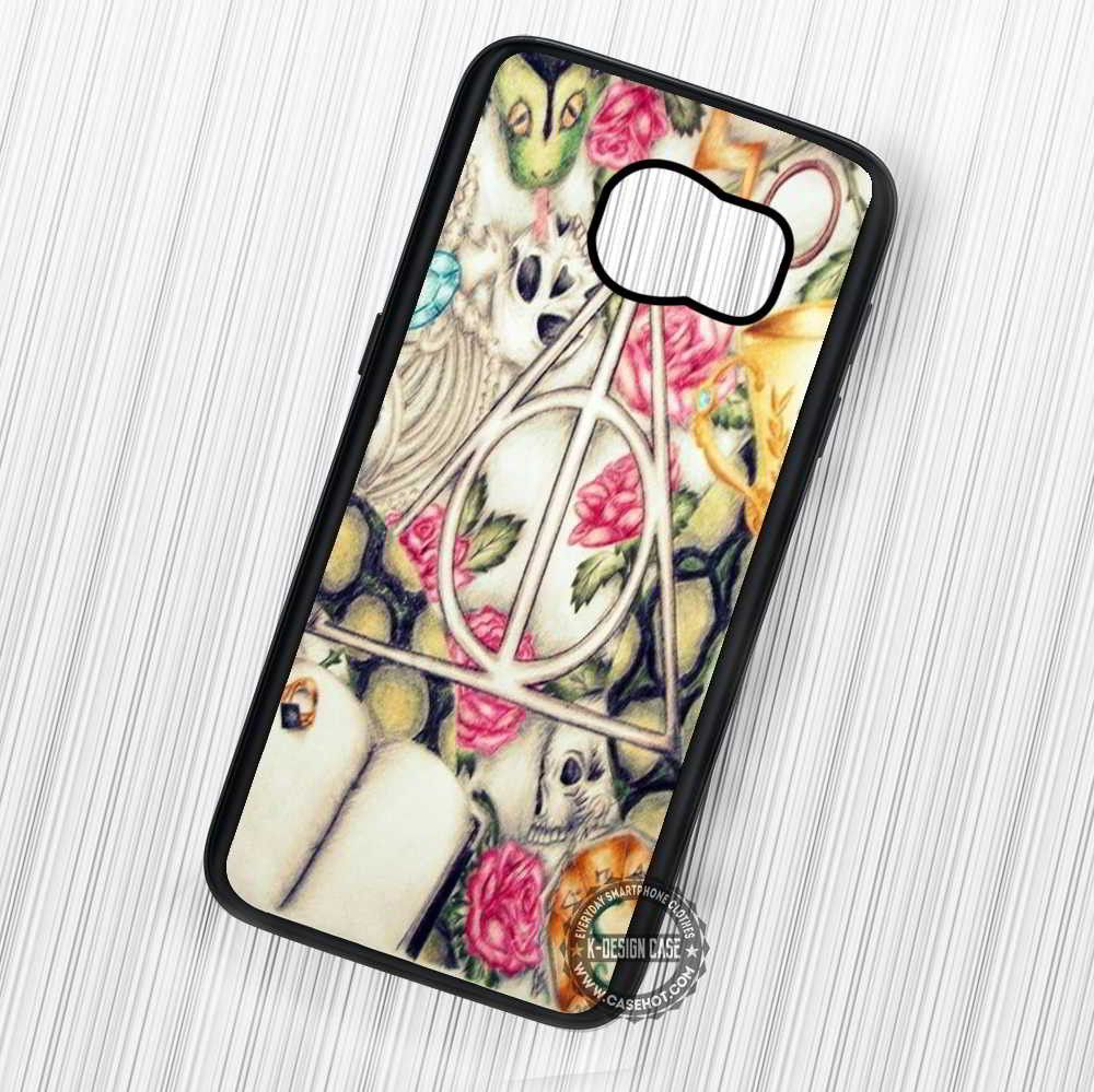 The Deathly Hallows Symbol Floral Art Harry Potter - Samsung Galaxy S7 S6 S5 Note 7 Cases & Covers