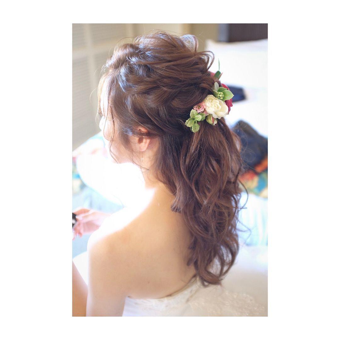 ミルフェリーチェウェディング 出張ヘアメイク 花嫁髪型 花嫁ヘアスタイル お花アレンジ ハーフアップ 花嫁 髪型 花嫁 ヘアスタイル ブライダル 髪型